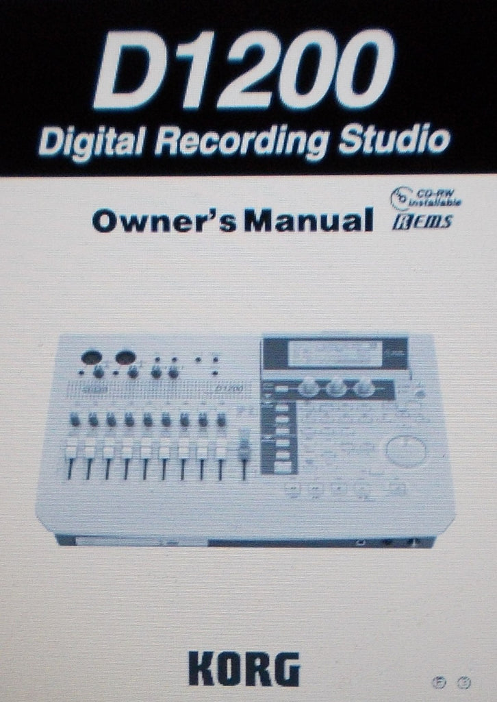 KORG D1200 DIGITAL RECORDING STUDIO OWNER'S MANUAL INC BLK DIAG AND TRSHOOT GUIDE 163 PAGES ENG
