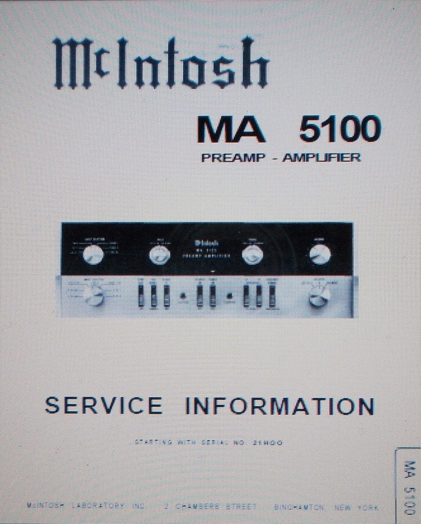 McINTOSH MA5100 PREAMP STEREO POWER AMP SERVICE INFORMATION INC SCHEMS AND PARTS LIST 12 PAGES ENG