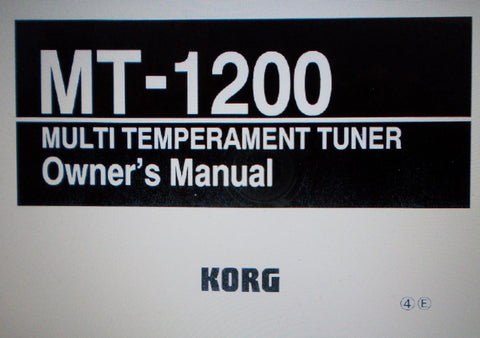 KORG MT-1200 MASTER TUNE MULTI TEMPERAMENT TUNER OWNER'S MANUAL INC MODE DIAG 36 PAGES ENG