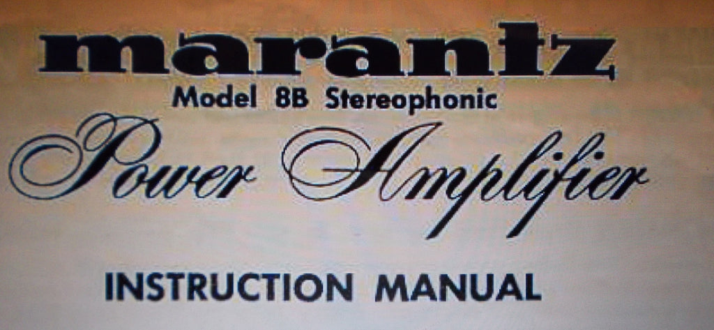MARANTZ 8B STEREOPHONIC POWER AMP INSTRUCTION MANUAL INC SCHEM DIAG 4 PAGES ENG