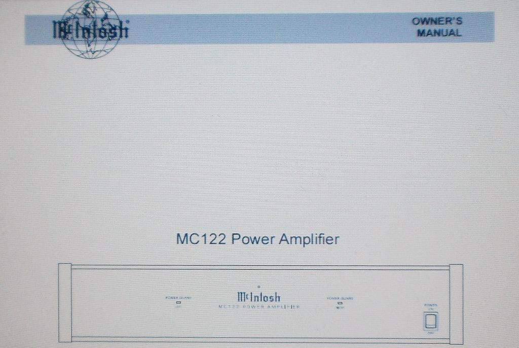 McINTOSH MC122 POWER AMP OWNER'S MANUAL INC INSTALL DIAG AND CONN DIAG 12 PAGES ENG