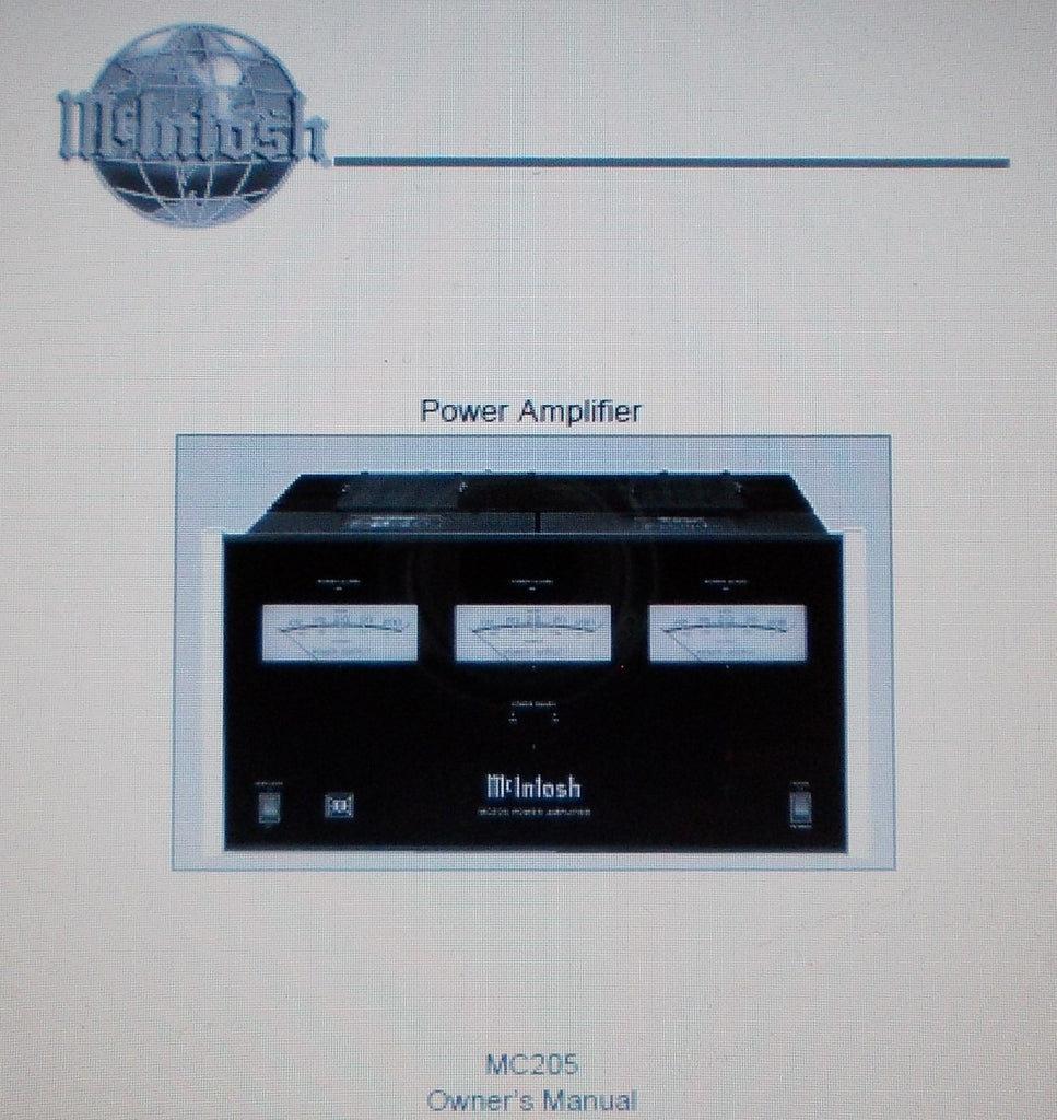 McINTOSH MC205 FIVE CHANNEL POWER AMP OWNER'S MANUAL INC INSTALL DIAG AND CONN DIAGS 20 PAGES ENG