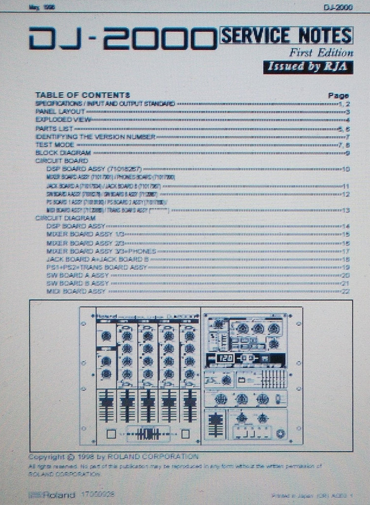 ROLAND DJ-2000 PROFESSIONAL DJ MIXER SERVICE NOTES FIRST EDITION INC SCHEMS AND PARTS LIST 22 PAGES ENG