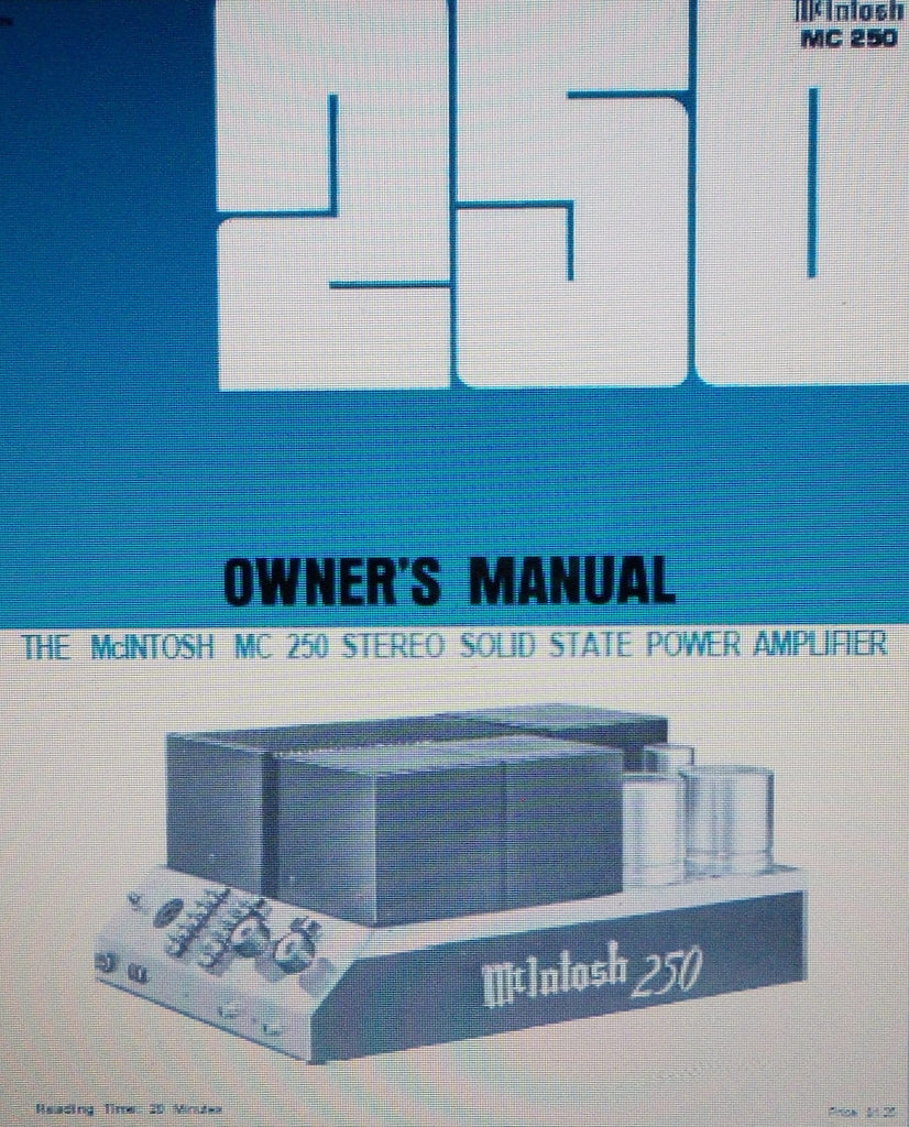 McINTOSH MC250 STEREO SOLID STATE POWER AMP OWNER'S MANUAL INC CONN DIAG AND BLK DIAG 12 PAGES ENG