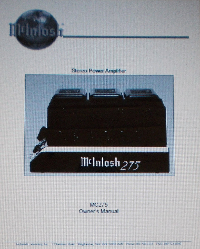 McINTOSH MC275 MK4 STEREO POWER AMP OWNER'S MANUAL INC INSTALL INSTR AND CONN DIAGS 16 PAGES ENG