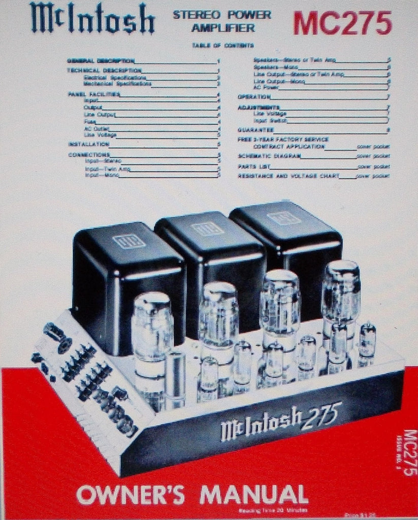 McINTOSH MC275 STEREO POWER AMP OWNER'S MANUAL INC INSTALL INSTR AND CONN INSTR 12 PAGES ENG