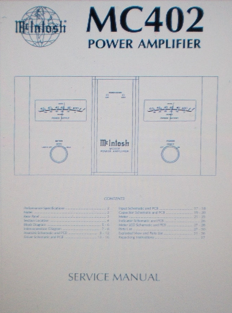 McINTOSH MC402 STEREO POWER AMP SERVICE MANUAL INC SCHEMS AND PARTS LIST 38 PAGES ENG
