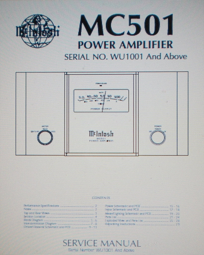 McINTOSH MC501 POWER AMP SERVICE MANUAL SERIAL No WU1001 AND ABOVE INC SCHEMS AND PARTS LIST 18 PAGES ENG