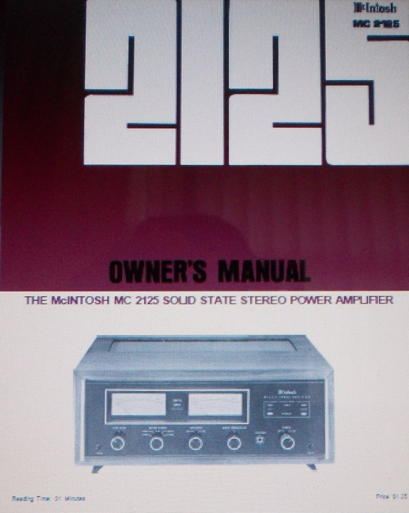 McINTOSH MC2125 SOLID STATE STEREO POWER AMP OWNER'S MANUAL INC CONN DIAGS AND BLK DIAG 18 PAGES ENG