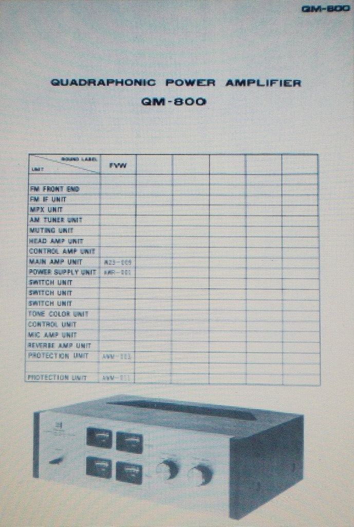PIONEER QM-800 QUADRAPHONIC POWER AMP SCHEM DIAGS 4 PAGES ENG