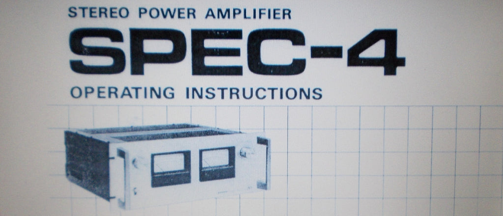 PIONEER SPEC-4 STEREO POWER AMP OPERATING INSTRUCTIONS INC INSTALL DIAG AND CONN DIAG 12 PAGES ENG