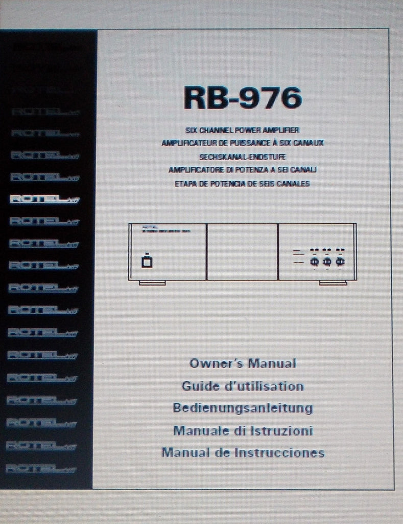ROTEL RB-976 SIX CHANNEL POWER AMP OWNER'S MANUAL INC CONN DIAGS AND TRSHOOT GUIDE 30 PAGES ENG FRANC DEUT MULTI