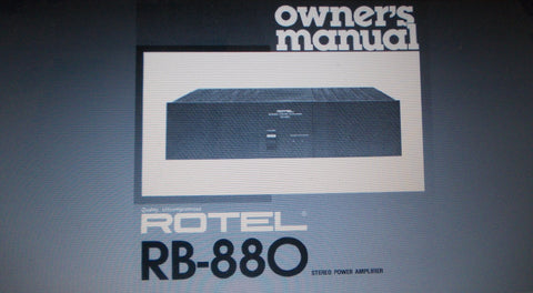 ROTEL RB-880 STEREO POWER AMP OWNER'S MANUAL INC CONN DIAGS 5 PAGES ENG