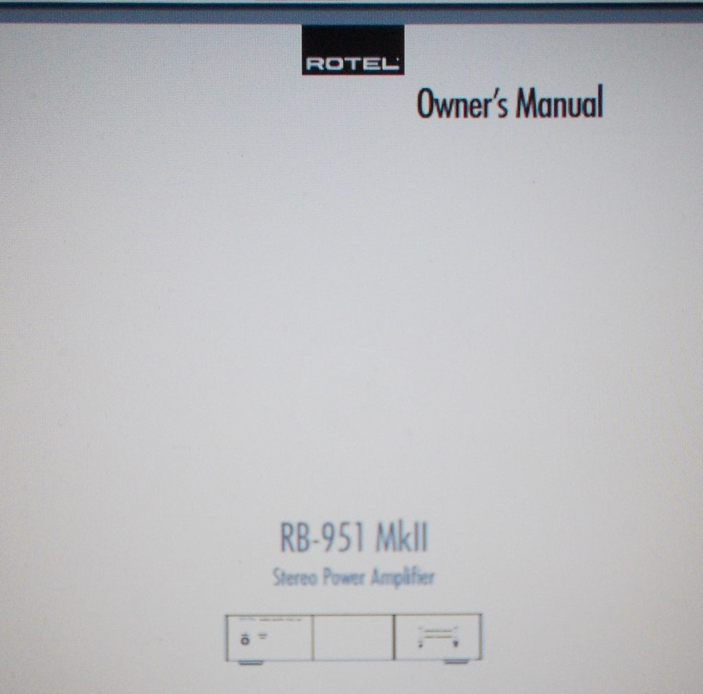 ROTEL RB-951MKII STEREO POWER AMP OWNER'S MANUAL INC CONN DIAGS AND TRSHOOT GUIDE 12 PAGES ENG