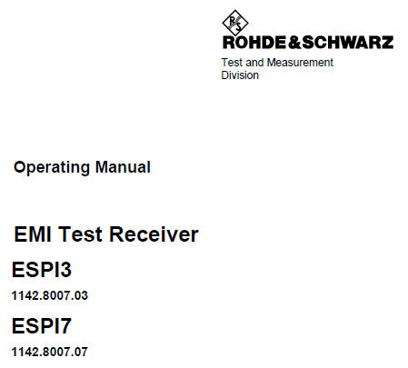 EMI ESP13 ESP17 TEST RECEIVER OPERATING MANUAL 786 PAGES ENG