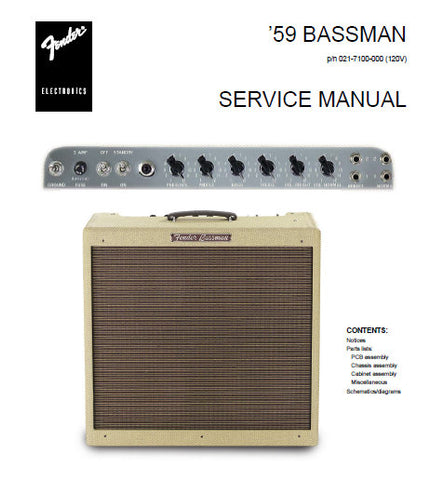 FENDER '59 BASSMAN BASS AMPLIFIER SERVICE MANUAL INC SCHEM DIAGS AND PARTS LIST 10 PAGES ENG