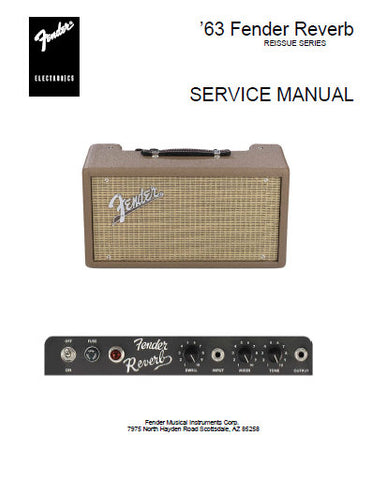 FENDER 63 REVERB AMPLIFIER SERVICE MANUAL INC SCHEM DIAGS AND PARTS LIST 8 PAGES ENG