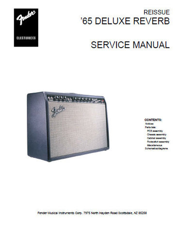 FENDER '65 DELUXE REVERB RE ISSUE AMPLIFIER SERVICE MANUAL INC SCHEM DIAGS AND PARTS LIST 7 PAGES ENG