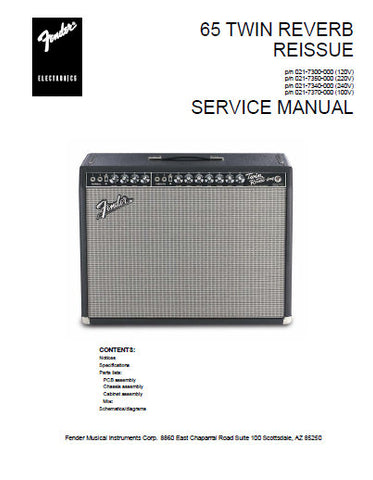 FENDER '65 TWIN REVERB REISSUE AMPLIFIER SERVICE MANUAL INC SCHEM DIAGS AND PARTS LIST 9 PAGES ENG