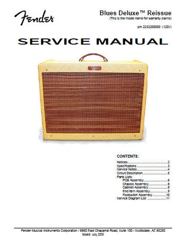 FENDER BLUES DELUXE REISSUE AMPLIFIER SERVICE MANUAL INC SCHEM DIAGS AND PARTS LIST 16 PAGES ENG
