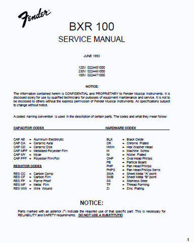 FENDER BXR 100 BASS EXTENDED RANGE BASS AMPLIFIER SERVICE MANUAL INC PCB SCHEM DIAG AND PARTS LIST 5 PAGES ENG