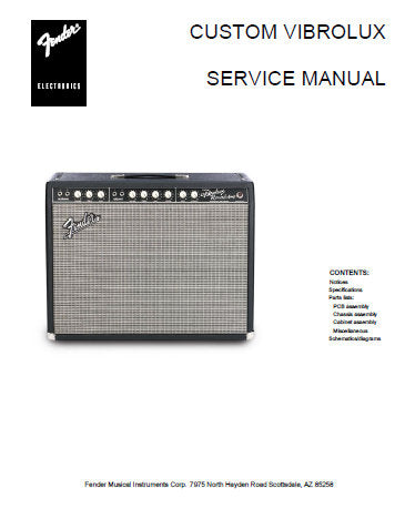 FENDER CUSTOM VIBROLUX REVERB AMPLIFIER SERVICE MANUAL INC PCB SCHEM DIAG AND PARTS LIST 7 PAGES ENG