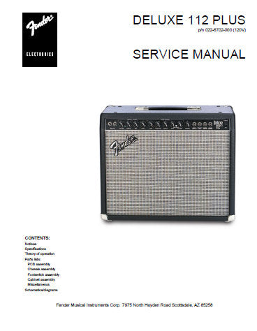 FENDER DELUXE 112 PLUS AMPLIFIER SERVICE MANUAL INC PCB SCHEM DIAG AND PARTS LIST 10 PAGES ENG