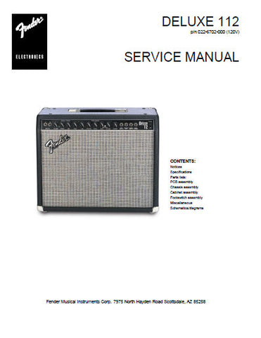 FENDER DELUXE 112 AMPLIFIER SERVICE MANUAL INC PCB SCHEM DIAG AND PARTS LIST 8 PAGES ENG