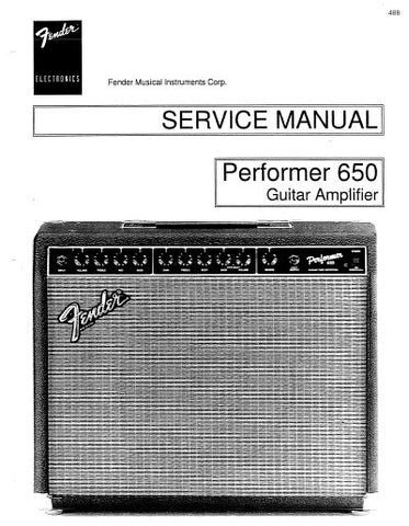FENDER PERFORMER 650 AMPLIFIER SERVICE MANUAL INC PCB SCHEM DIAG AND PARTS LIST 10 PAGES ENG