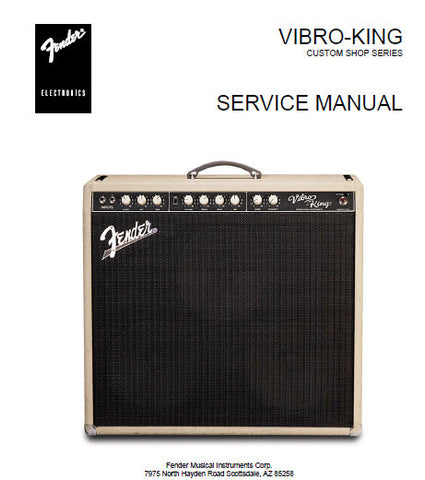 FENDER VIBRO-KING AMPLIFIER SERVICE MANUAL INC PCB SCHEM DIAGS AND PARTS LIST 9 PAGES ENG
