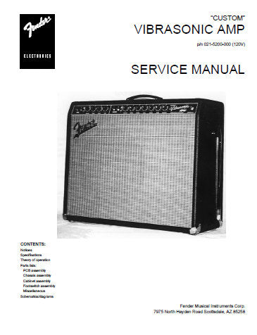 FENDER VIBROSONIC AMP SERVICE MANUAL INC PCB SCHEM DIAG AND PARTS LIST 9 PAGES ENG