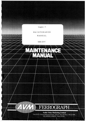 FERROGRAPH LOGIC 7 TAPE RECORDER MAINTENANCE MANUAL INC PCBS SCHEM DIAGS AND PARTS LIST 90 PAGES ENG
