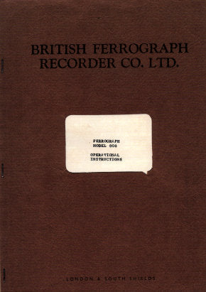 FERROGRAPH MODEL 808 TAPE RECORDER OPERATIONAL INSTRUCTIONS INC SCHEM DIAGS AND PARTS LIST 15 PAGES ENG
