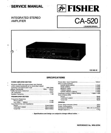 FISHER CA-520 INTEGRATED STEREO AMPLIFIER SERVICE MANUAL INC PCBS SCHEM DIAGS AND PARTS LIST 14 PAGES ENG