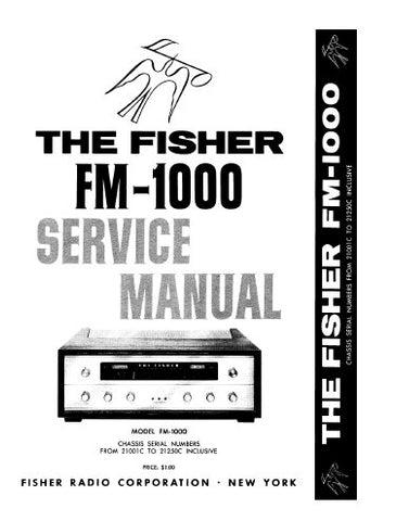 FISHER FM-1000 FM RECEIVER SERVICE MANUAL INC BLK DIAG SCHEM DIAGS TUBE LAYOUT AND PARTS LIST 10 PAGES ENG