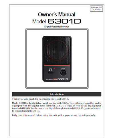FOSTEX 6301D DIGITAL PERSONAL MONITOR OWNER'S MANUAL 7 PAGES ENG