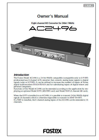 FOSTEX AC2496 EIGHT CHANNEL AD CONVERTER OWNER'S MANUAL 12 PAGES ENG