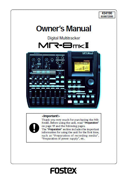 FOSTEX MR-8MKII DIGITAL MULTITRACKER OWNER'S MANUAL INC BLK DIAG 154 PAGES ENG