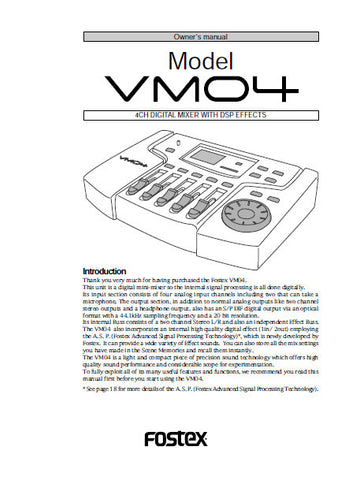 FOSTEX VM04 4 CHANNEL DIGITAL MIXER WITH DSP EFFECTS MIXER OWNER'S MANUAL 27 PAGES ENG