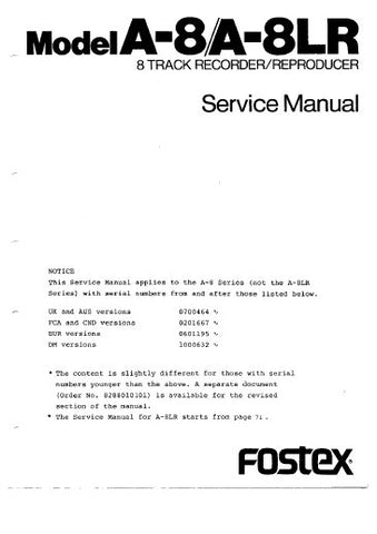 FOSTEX A-8 A-8LR 8 TRACK RECORDER REPRODUCER SERVICE MANUAL INC PCBS SCHEM DIAGS AND PARTS LIST 95 PAGES ENG