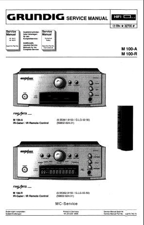 GRUNDIG M100-A M100-R RECEIVER SERVICE MANUAL INC WIRING DIAG SCHEM DIAGS PCB'S AND PARTS LIST 39 PAGES ENG DEUT