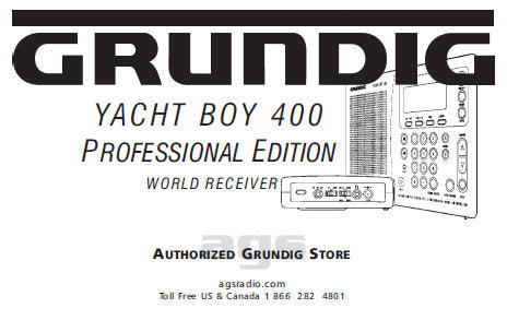 GRUNDIG YACHT BOY 400 PROFESSIONAL EDITION RECEIVER MANUAL 18 PAGES ENG