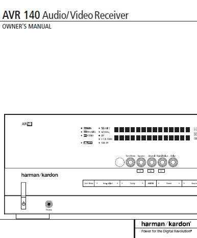HARMAN KARDON AVR140 AV RECEIVER OWNER'S MANUAL INC CONN DIAGS AND TRSHOOT  GUIDE 46 PAGES ENG