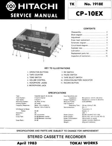 HITACHI CP-10EX STEREO CASSETTE RECORDER SERVICE MANUAL INC BLK DIAG PCBS SCHEM DIAG AND PARTS LIST 8 PAGES ENG