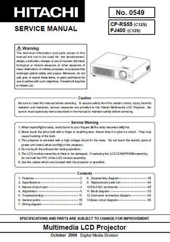 HITACHI CP-RS55 MULTIMEDIA LCD PROJECTOR SERVICE MANUAL INC BLK DIAG SCHEM DIAGS AND PARTS LIST 70 PAGES ENG