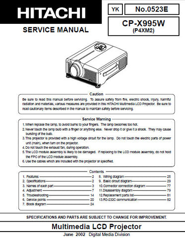 HITACHI CP-X995W MULTIMEDIA LCD PROJECTOR SERVICE MANUAL INC BLK DIAG SCHEM DIAGS AND PARTS LIST 66 PAGES ENG