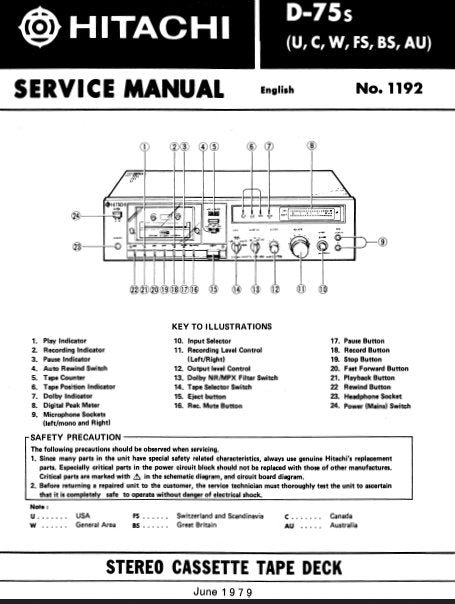 HITACHI D-75s STEREO CASSETTE TAPE DECK SERVICE MANUAL INC BLK DIAG PCBS SCHEM DIAG AND PARTS LIST 22 PAGES ENG