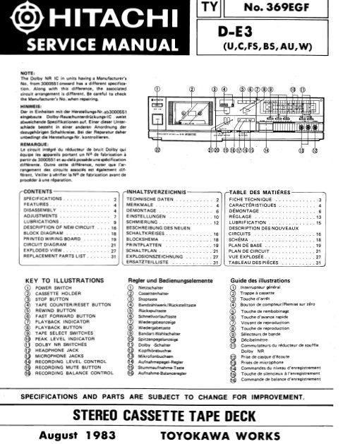 HITACHI D-E3 STEREO CASSETTE TAPE DECK SERVICE MANUAL INC BLK DIAG PCBS SCHEM DIAGS AND PARTS LIST 28 PAGES ENG DEUT FRANC