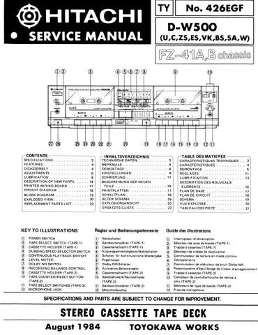HITACHI D-W500 STEREO CASSETTE TAPE DECK SERVICE MANUAL INC BLK DIAG PCBS SCHEM DIAG AND PARTS LIST 26 PAGES EN DEUT FRANC
