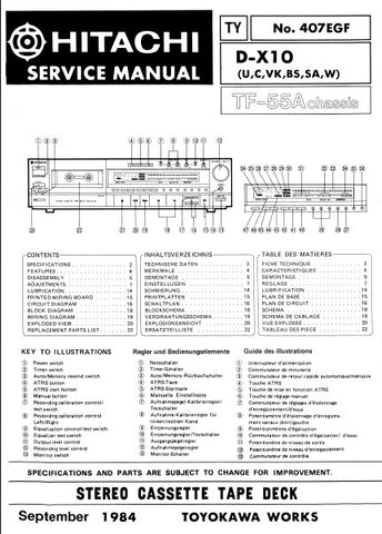 HITACHI D-X10 STEREO CASSETTE TAPE DECK SERVICE MANUAL INC BLK DIAG PCBS SCHEM DIAG AND PARTS LIST 23 PAGES ENG DEUT FRANC